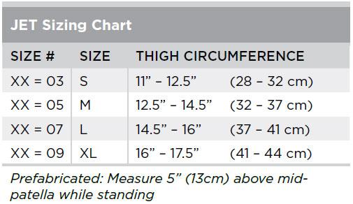 Jet Knee Brace Size Chart